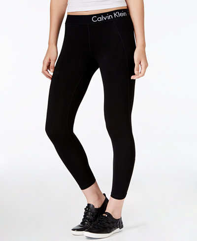 calvin klein performance cropped logo leggings pants women macy 39 s. Black Bedroom Furniture Sets. Home Design Ideas