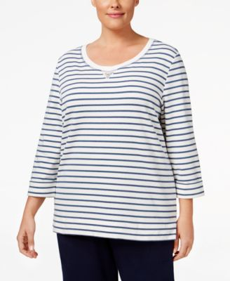 Karen Scott Plus Size Striped Embellished Sweatshirt, Only at Macy's