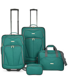 Travel Select Kingsway Four Piece Luggage Set - Green/Navy