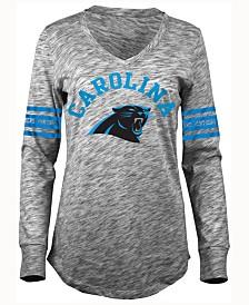 Youth Girls Carolina Panthers 5th & Ocean by New Era Gray Glitter Football V-Neck Long Sleeve T-Shirt