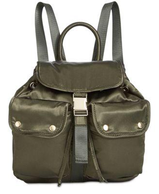 STEVE MADDEN Jax Satin Medium Backpack in Green