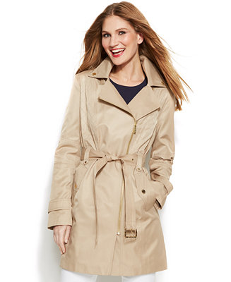 Michael Michael Kors Asymmetrical Zip Trench Coat Coats