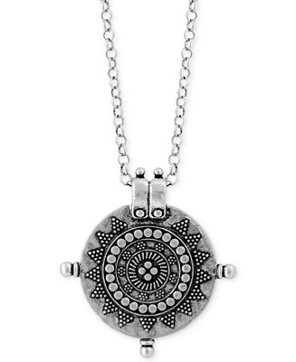 Lucky brand silver tone tribal medallion pendant long for Macy s lucky brand jewelry