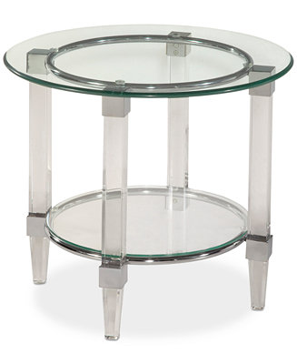 Cristal Round End Table Furniture Macy S