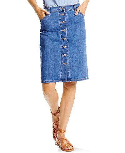 Levi S 174 Button Front Denim Skirt Skirts Women Macy S