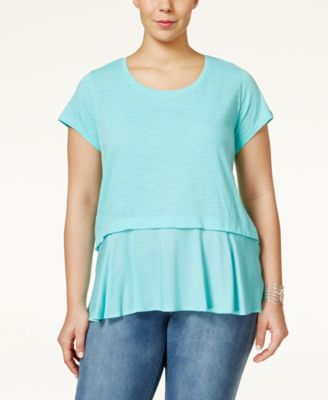 Style & Co. Plus Size Short-Sleeve Flounce-Hem Top, Only at Macy's