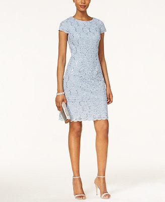 Alex Evenings Cap Sleeve Sequined Lace Sheath Dress