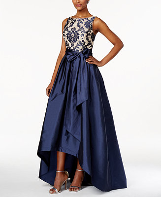 Adrianna Papell Embroidered Lace Tafetta Gown Dresses
