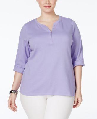 Karen Scott Plus Size Henley Top, Only at Macy's