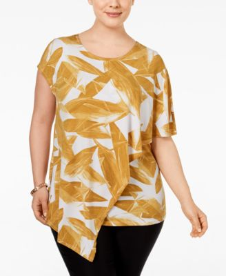 Alfani Plus Size Printed Asymmetric Top, Only at Macy's