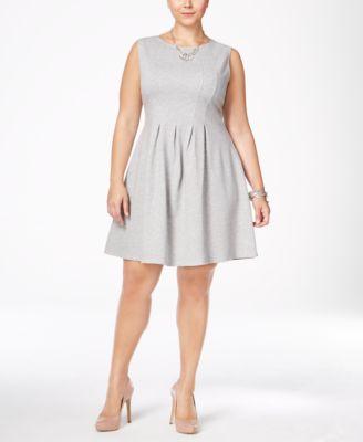 Monteau Trendy Plus Size Pleated A-Line Dress