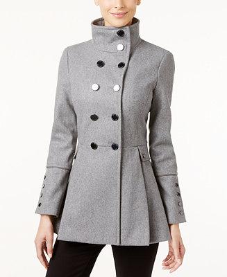Calvin Klein Stand Collar Skirted Walker Coat Coats