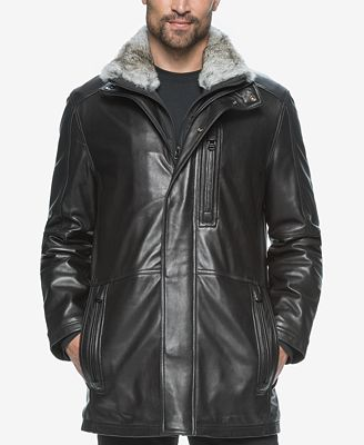 Marc New York Men's Middlebury Leather Coat with Fur ...