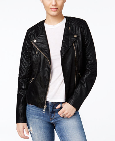 Guess Geonna Quilted Faux Leather Moto Jacket Jackets
