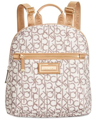 Calvin Klein Belfast Small Backpack Almond Khaki Photo Print