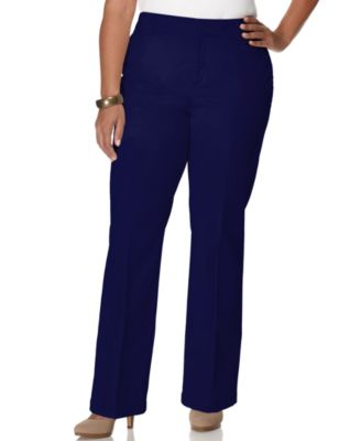 JM Collection Plus Size Twill Straight-Leg Pants, Only at Macy's