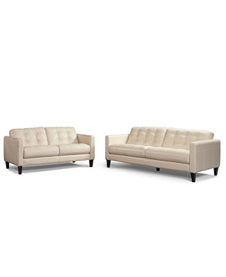 Milan 2 Piece Leather Sofa Set Sofa And Love Seat