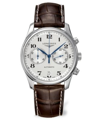 Longines Watch Mens Swiss Automatic Chronograph Master Brown Alligator Leather Strap 40mm L26294783