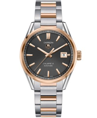 TAG Heuer Mens Swiss Automatic Carrera Calibre 5 18k Rose Gold and Stainless Steel Bracelet Watch 39mm WAR215E.BD0784