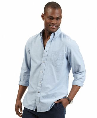 Nautica big and tall solid oxford shirt casual button for Big and tall oxford shirts