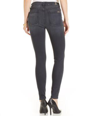 7 For All Mankind High-Waist Bastille Ankle Skinny Jeans Grey Wash