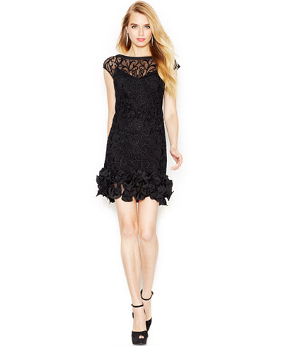 Jessica Simpson Floral Lace Ruffled Hem Sheath Dresses