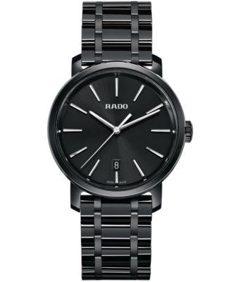 Rado Mens Swiss DiaMaster Black High-Tech Ceramic Bracelet Watch 40mm R14066182