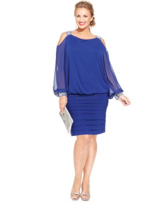 Betsy adam plus size cold shoulder embellished blouson for Wedding guest dresses for 40 year olds