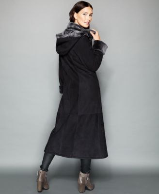 The Fur Vault Hooded Shearling Maxi Coat