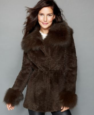The Fur Vault Fox-Trimmed Sheared Rabbit Fur Parka