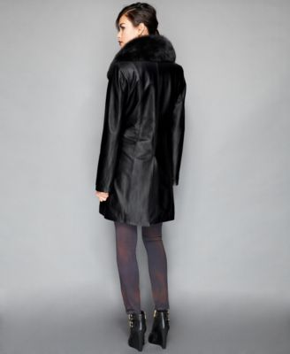 The Fur Vault Fox Fur Collar & Rabbit Fur-Lined Leather Walker Coat