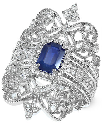 Royal bleu by effy sapphire 1 ct t w and diamond 3 4 for Macy s jewelry clearance
