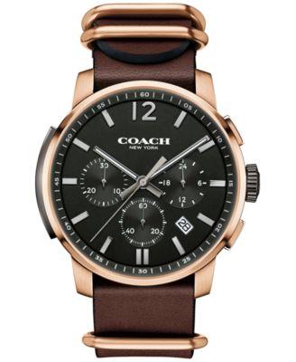 COACH MEN'S BLEECKER CHRONO MAHOGANY LEATHER STRAP WATCH 42MM 14602019, MACY'S EXCLUSIVE