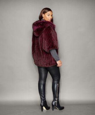 The Fur Vault Plus Size Fox-Trim Knitted Mink Fur Hooded Jacket