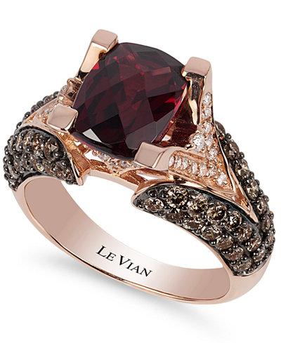 Raspberry Rhodolite Garnet Engagement Ring