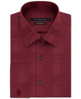 Sean john big and tall red french cuff dress shirt dress for Big and tall french cuff dress shirts
