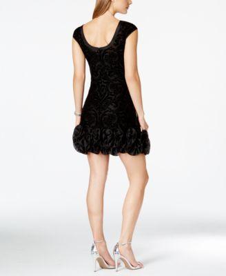 Jessica Simpson Rosette-Trim Flocked Velvet Dress
