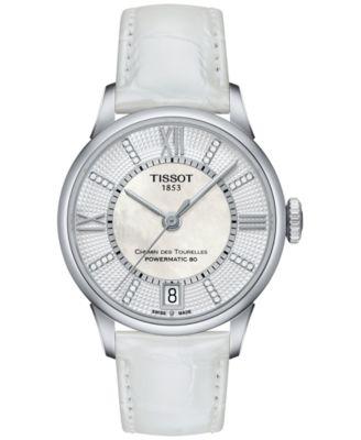 Tissot Womens Swiss Automatic Chemin Des Tourelles Diamond Accent White Leather Strap Watch 32mm T0992071611600