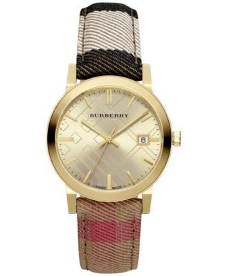 Burberry Womens Housecheck Fabric Strap Watch 38mm BU9041