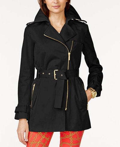 Michael Michael Kors Belted Front Zip Trench Coat Coats