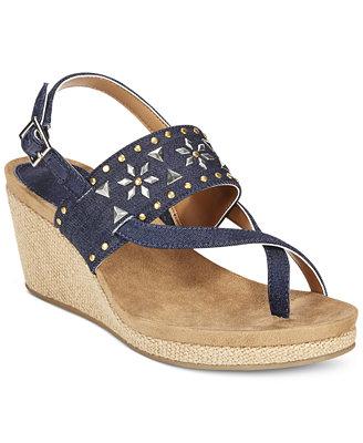 Style Amp Co Jazzmine Embellished Slingback Wedge Sandals