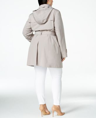 London Fog Plus Size Hooded Layered-Collar Trench Coat