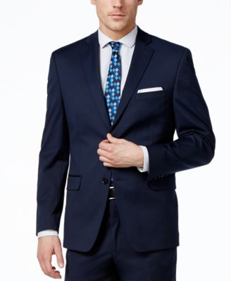 Alfani Mens Traveler Navy Solid Slim-Fit Jacket