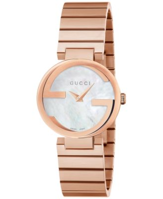 Gucci Womens Swiss Interlocking Pink Gold-Tone PVD Stainless Steel Bracelet Watch 29mm YA133515