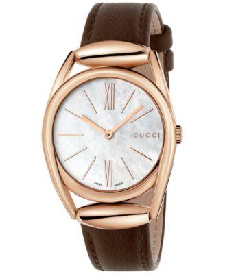 Gucci Womens Swiss Horsebit Brown Leat..