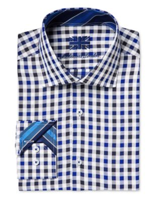 Michelsons of London Mens Slim-Fit Check-Pattern Dress Shirt