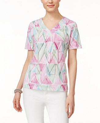 Alfred dunner printed short sleeve top tops women macy 39 s for Alfred dunner wedding dresses