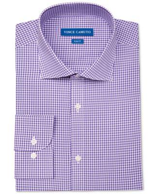 Vince Camuto Mens Slim-Fit Stretch Purple Gingham Dress Shirt