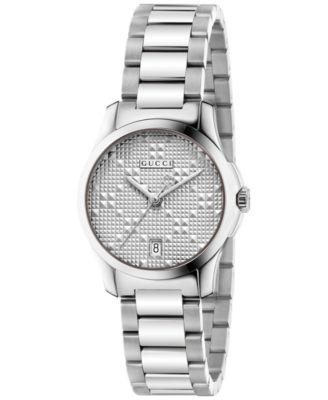 Gucci Womens Swiss G-Timeless Stainless Steel Bracelet Watch 27mm YA126551