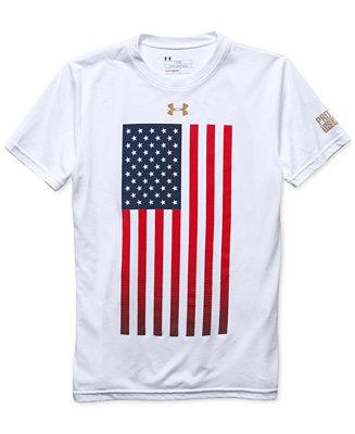Under armour boys 39 usa flag t shirt shirts tees kids for Under armour shirts for kids